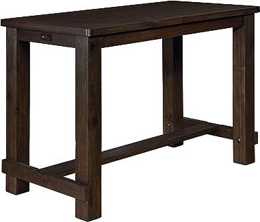 Roundhill Furniture Kessel Wood Pub Table, Brown Brushed