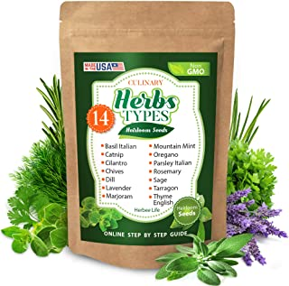 Culinary Herb Seeds for Planting - 14 Herb Types - Basil, Lavender, Parsley Italian, Thyme, Rosemary, Dill,...
