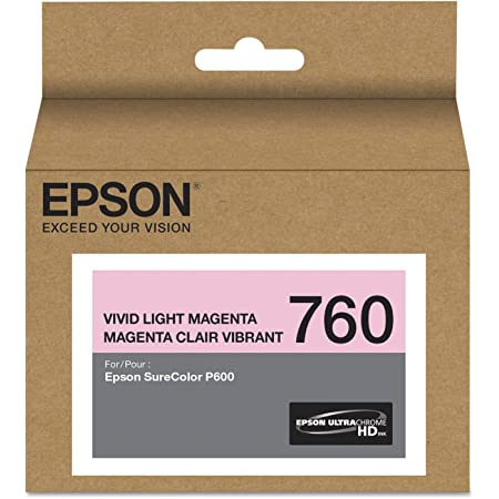 Epson T760620 (760) UltraChrome HD Ink (Vivid Light Magenta) in Retail Packaging