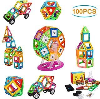 NextX Magnetic Blocks, 100 PCS Magnetic Tiles Building Blocks STEM Educational Building Toy Set