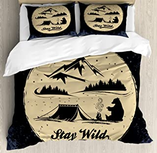 Lunarable Camping Duvet Cover Set, Bear Silhouette Resting on a Campfire in The Forest with Stay Wild Words, Decorative 3 Piece Bedding Set with 2 Pillow Shams, Queen Size, Blue Beige