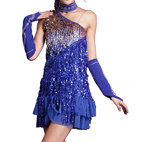 4e8d8a10e9bb7 Wuchieal Latin Dance Dress Wingbind Short Sleeve Tassel Dancewear Sequin  Sexy Dance Party Dress