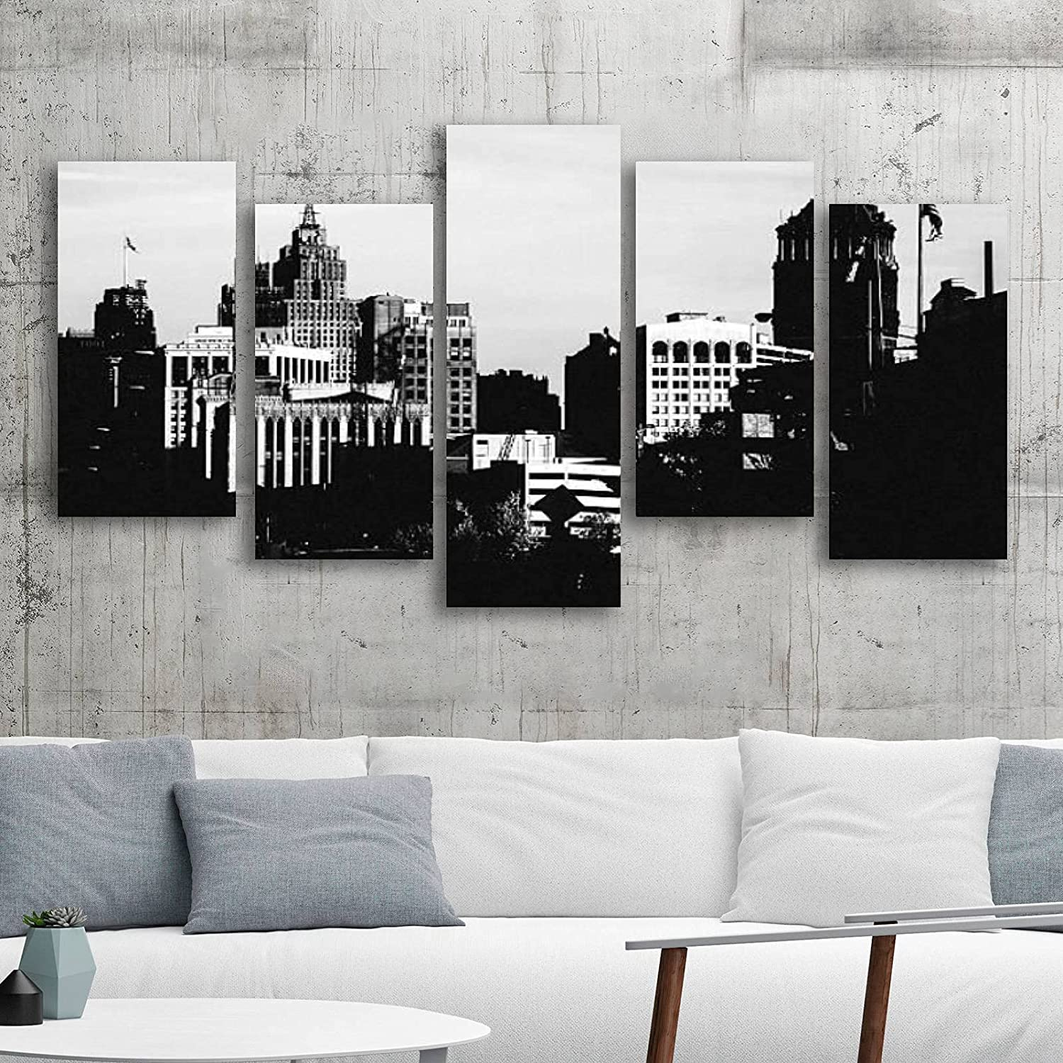 Canvas Wall Art Challenge the lowest price Painting Downtown Prints Gicle on Detroit Free shipping anywhere in the nation