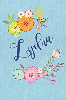 Lydia: Personalized Name and Floral Design on Blue Teal Pattern, Lined Paper Note Book For Girls To Draw, Sketch & Crayon ...