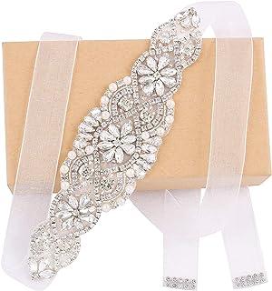 Weztez Wedding Sash Pearl Belt with Satin Ribbon Handmade Crystal Bridal Belt Thin for Women formal Evening Dress Accessories