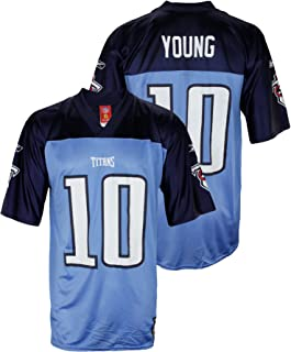 Reebok Mens NFL Tennessee Titans Vince Young #10 Dazzle Jersey, Light Blue
