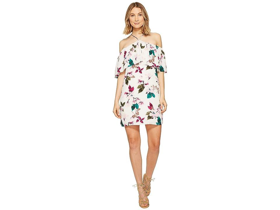 1.STATE Halter Neckline Ruffle Dress (Cloud) Women