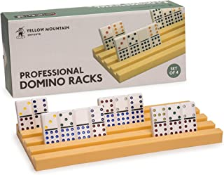 Yellow Mountain Imports Domino Racks/Trays for Chicken Foot, Mexican Train, and Domino Games - Set of 4