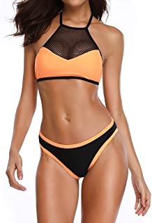 Romenza Womens Two Piece High Neck Neon Sport Active Swimwear with Mesh Detail Swimsuit