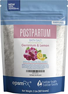 Postpartum Sitz Bath Salt 32 Ounces Epsom Salt with Frankincense, Lavender, Geranium, Chamomile and Lemon Essential Oils Plus Vitamin C and All Natural Ingredients BPA Free Pouch with Easy Press-Lock