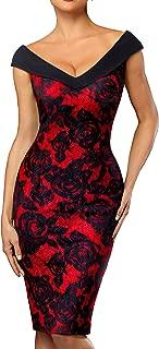 Women's V-Neck Sleeveless Floral Pencil Dress B425