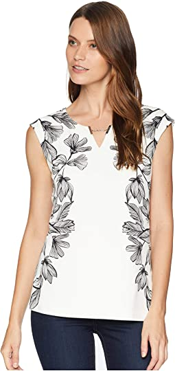 Printed Sleeveless Top with Chain Detail