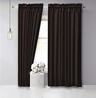 Vargottam Cotton Slub Brown Curtains 72 Inch Long Window Curtain Rod Pocket Window Panels for Bedroom 2 Panels