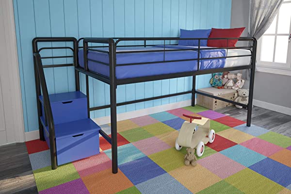 DHP Junior Twin Metal Loft Bed With Storage Steps Space Saving Solution Multifunctional Black With Blue Steps