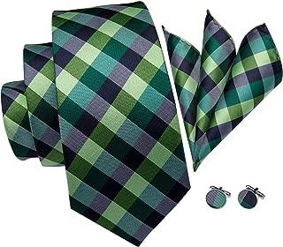Men's Plaid Check Tie Woven Jacquard Silk Necktie Pocket Square Cufflinks Set Gift Box