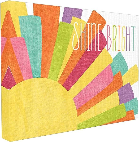 Stupell 家 D Cor 闪耀明亮多彩的太阳插图超大拉伸帆布墙艺术 24X1 5X30 自豪地在美国制造