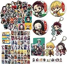 Demon Slayer: Kimetsu no Yaiba Gift Set Pcs-50 PCS Demon Slayer latpop Sticker + 54 PCS Demon Slayer postercard+ 3 Button ...