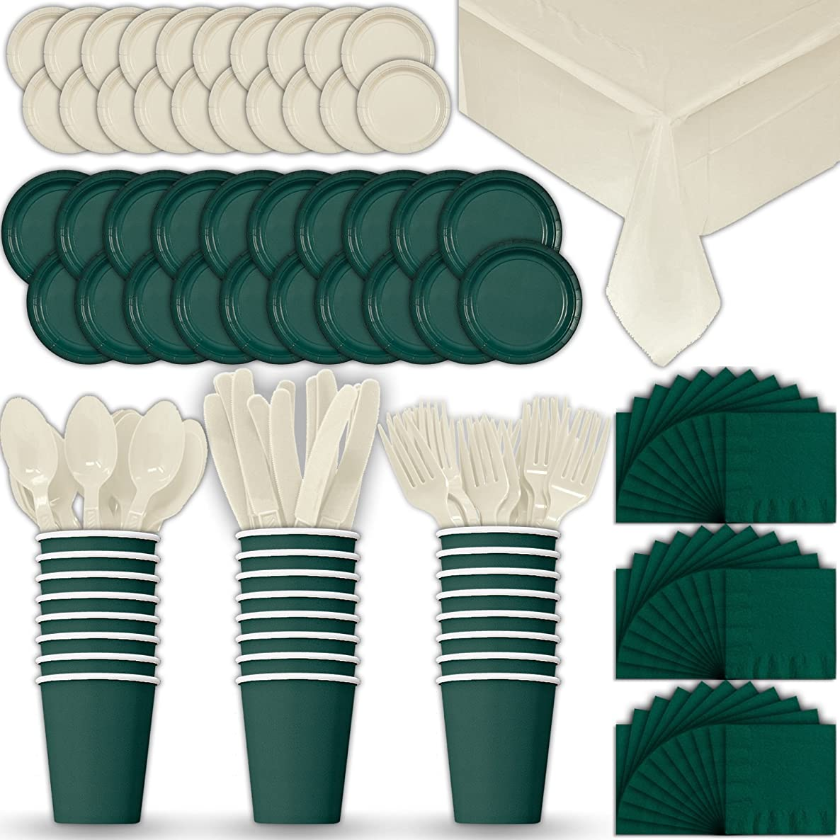 Paper Tableware Set for 24 - Hunter Green & Cream - Dinner and Dessert Plates, Cups, Napkins, Cutlery (Spoons, Forks, Knives), and Tablecloths - Full Two-Tone Party Supplies Pack