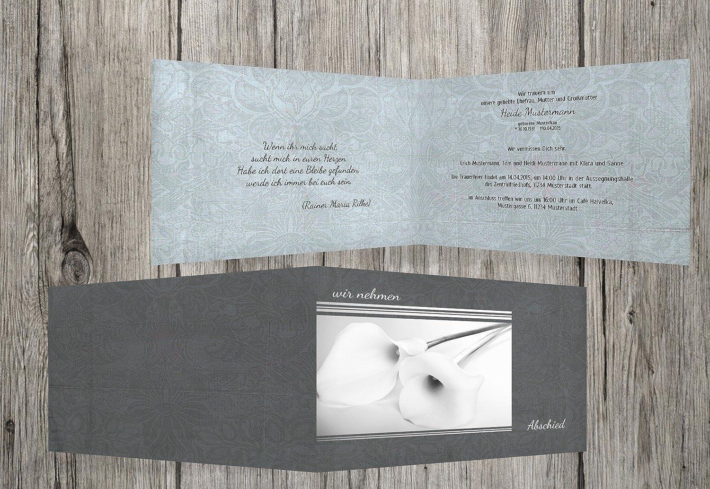 Sin impuestos Calla tarjeta de de de Luto lirio, gris, 40 Karten  descuento de ventas en línea