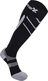 CSX Compression Socks for Men and Women, Knee High, Recovery Support, Athletic Sport Fit, Silver on Black, Large (15-20 mmHg)