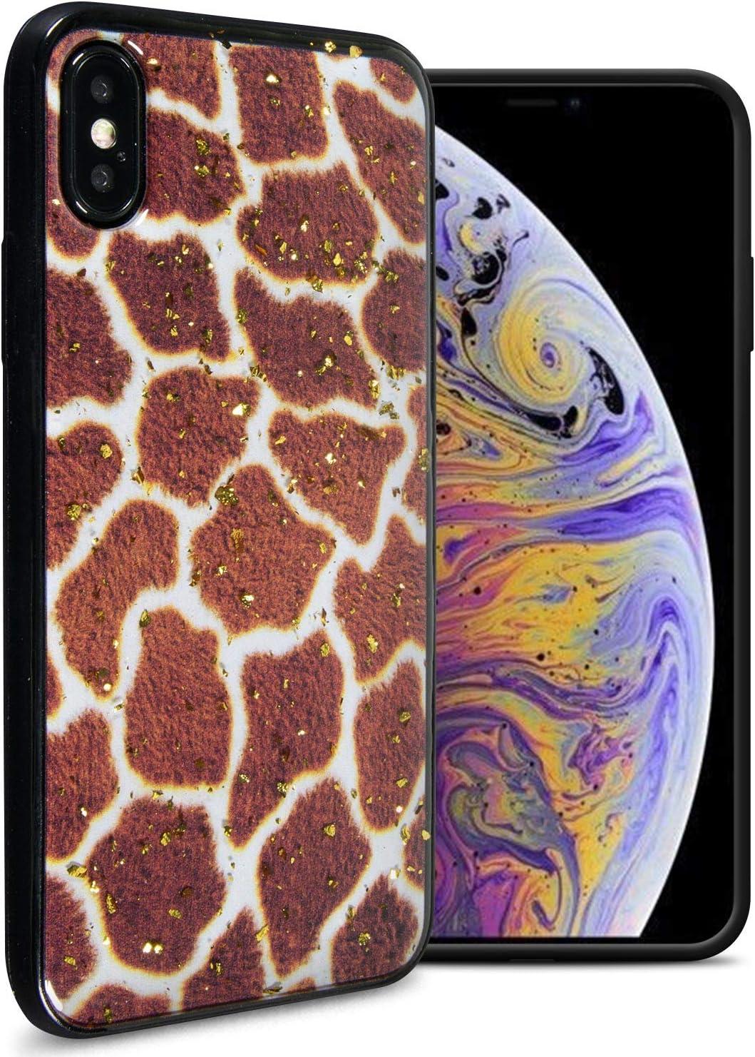 CoverON Slim Glitter TPU Rubber Safari Skin Series for Apple iPhone Xs/iPhone X Case, Giraffe Print