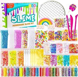 KUUQA 61 Pcs Slime Kit, incluyendo Fishbowl Beads, papel azúcar, rejilla, Googly Eyes, Shell, rebanadas, confeti, bolas es...
