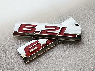 Winiory for Ford F150 Chevrolet C7 Camaro 2011-2015 6.2L 6.2 L ملصقات تزيين الشعار 2 قطع معدنية 7.5x2 سم أحمر