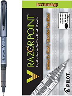 PILOT V Razor Point Liquid Ink Markers, Extra Fine Point, Black Ink, 12 Count (11020)