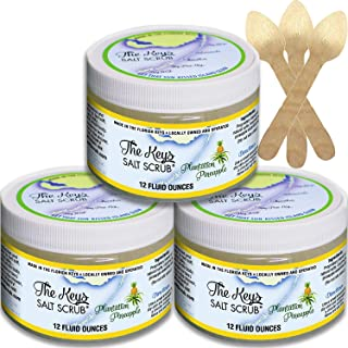 The Keys Salt Scrub : Premium Exfoliating Sea Salt Body Skin Scrubs (Plantation Pineapple, 3 Bulk Pack 12 oz)