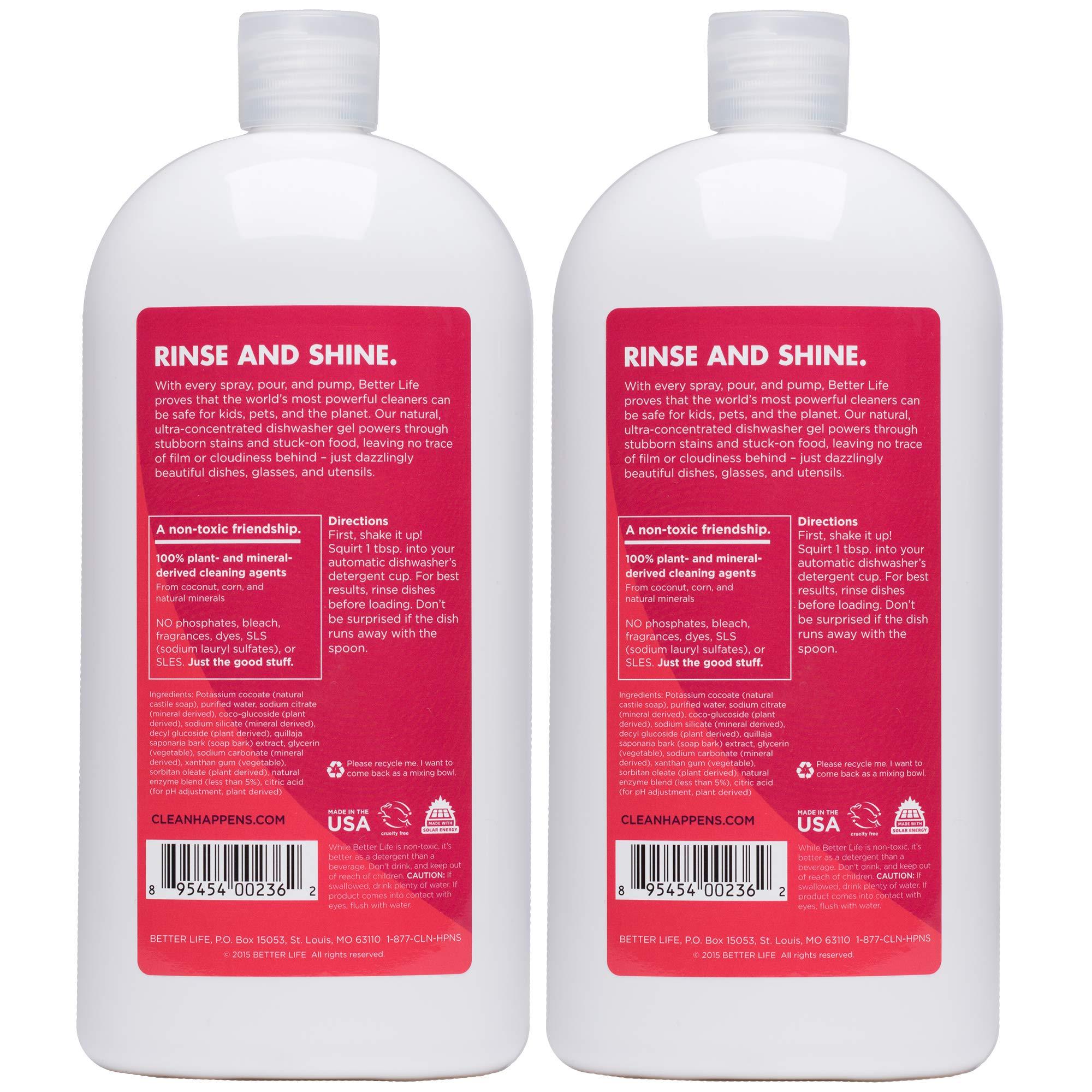 Better Life Natural Dishwasher Gel Detergent, 30 Fl Oz, Pack of 2