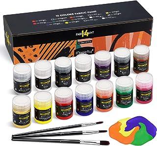Peinture Textile pour Tissu et Vêtements Permanent Magicfly, 14 Couleurs Enfant Lavable 20ML/Bouteille pour Vêtement, T-Sh...