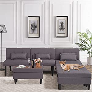 VUYUYU Futon Sofa Bed, Multifunctional Couches for Living Room, Small Convertible Futon Sofa with Ottoman/Coffee Table, Folding Recliner Sleeper, Linen Sectional Couch Set for Compact Space (Gray)