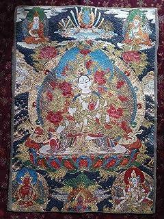 チベット密教 卍 仏教美術 多羅 菩薩 織物 刺繍 60cm 検索;釈迦 如来 仏陀 観音 菩薩 仏像 仏画 1-5,2 西蔵