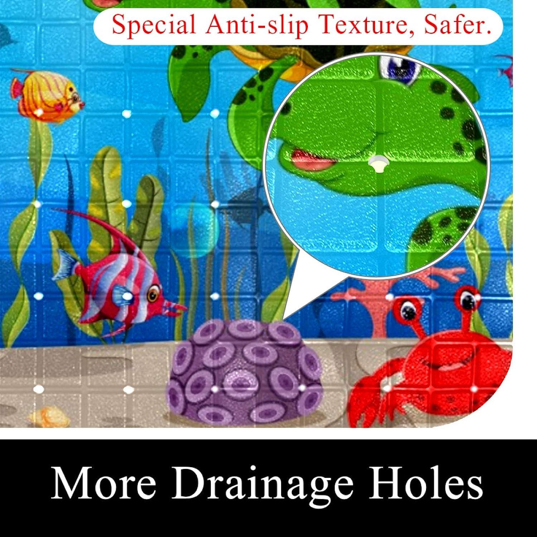 Shower Bath Mat (14.7x26.9 in) Cartoon Turtle Underwater Massage Textured Rectangle for Bathroom Showers, Tub