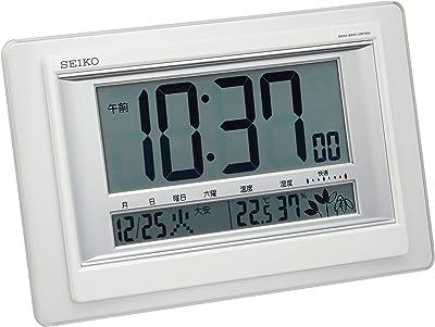 セイコー クロック 掛け時計 置き時計 兼用 電波 デジタル カレンダー 快適度 温度 湿度 表示 白 パール SQ432W SEIKO