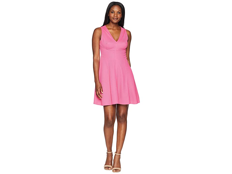 London Times Knit Pique V-Neck Fit Flare Dress (Pink) Women