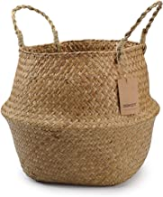 "DOKOT Natural Seagrass Belly Basket with Handles, Round Wicker Storage Laundry Basket (8.3"" Diameter x 9"" Height), Natural"