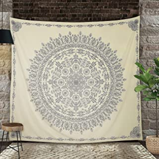 Madhu International Mandala Tapestry Wall Hanging Bohemian Hippie Tapestries Indian Cotton Bedspread (Beige, Queen(84x90Inches)(215x230cms))