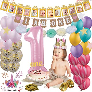 1st Birthday Decorations for Precious Baby Girl  Pink and White Party Supplies  