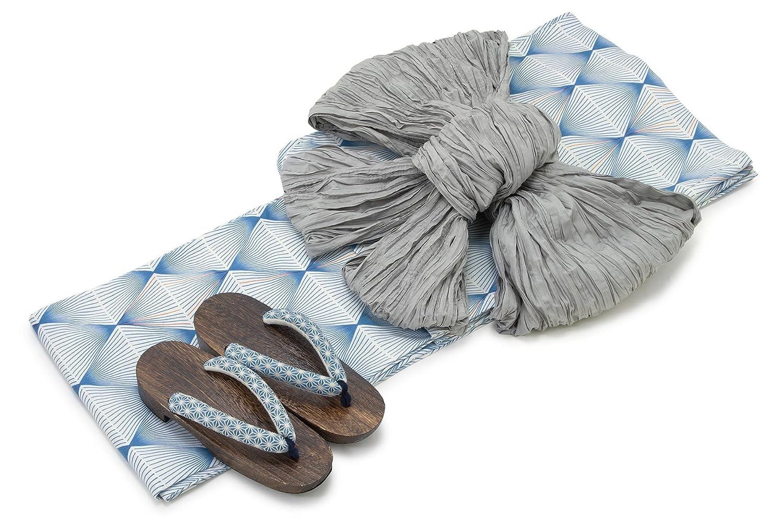 [ボヌールセゾン] bonheur saisons レディース浴衣セット 兵児帯 青 ブルー 白 灰色 幾何学模様 菱 綿 アートモダン 変わり織
