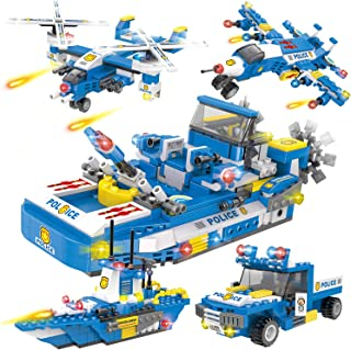 1355 Pieces City Coast Guard Building Blocks Set, Police Patrol Boat Building Toy with Cops Car, Ship, and Airplane, Storage Box with Baseplates Lid, Present Gift for Kids Boys and Girls 6-12