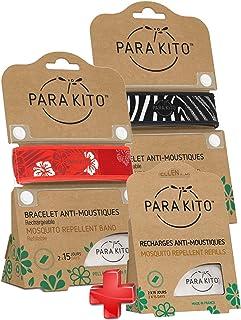 Parakito - PROTECTION ANTIMOUSTIQUE NATURELLE - KIT 2 x Para'kito BRACELET (Rouge et Noir) + 1 x Recharge Para'kito Pour BRACELET-RN