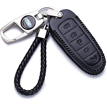 Vitodeco Genuine Leather Smart Key Fob Case for 2013-2017 Lincoln MKT 5-Button, Black//Red C-max Edge Flex Taurus MKS Explorer 2011-2018 Ford Escape Focus Expedition