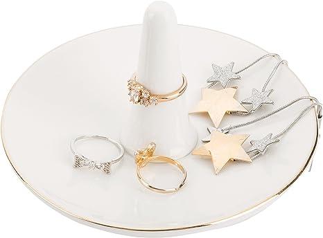 Amazon Com Mygift Modern White Ceramic Jewelry Dish Ring Holder With Gold Trim Home Kitchen
