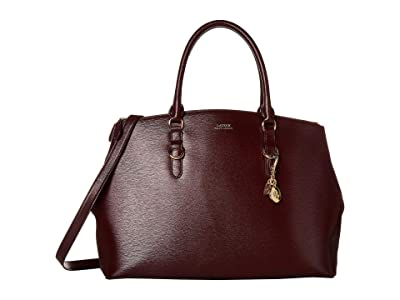 LAUREN Ralph Lauren Saffiano Double Zip Satchel Large (Bordeaux) Satchel Handbags
