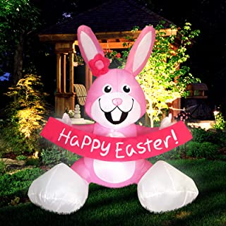 Satkago Easter Bunny, Inflatable Rabbit 4ft Cute Blow up Easter Decorations Bunny with LED Light for Home Yard Lawn Party ...