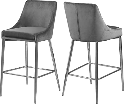 Meridian Furniture 790Grey-C Karina Collection Modern | Contemporary Velvet Upholstered Counter Stool with Polished Chrome Metal Legs and Foot Rest, Set of 2, Grey