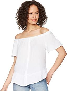 Double Gauze Off-The-Shoulder Ruffle Top
