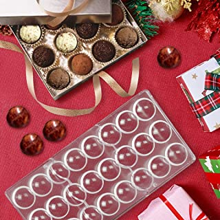 Jeteven Chocolate Candy Jelly Bonbon Making Mold, Non-stick PC Polycarbonate Mould Tray (Semi-Sphere)