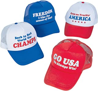 Fun Express USA Patriotic Trucker Hats for Fourth of July (Set of 12) - World War Champs